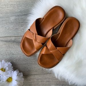 J crew vintage wooden leather sandal slide